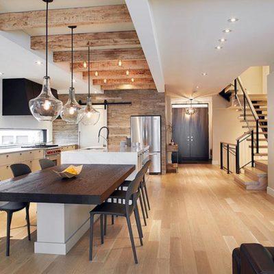 Plancher de bois dans la cuisine et la salle à manger Solu Hardwood